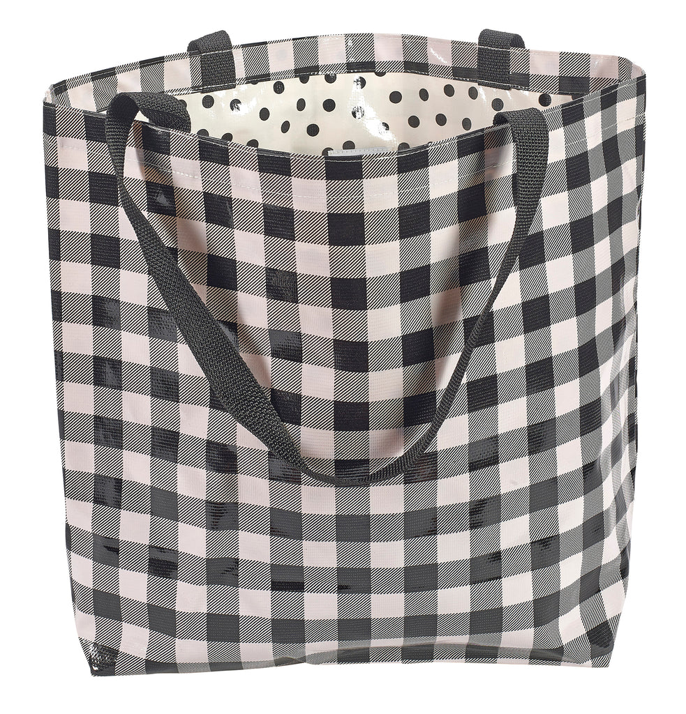 Freckled Sage Oilcloth Market Bag Large Black Gingham buffalo check