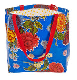 Freckled Sage Oilcloth Market Bag Mum Blue