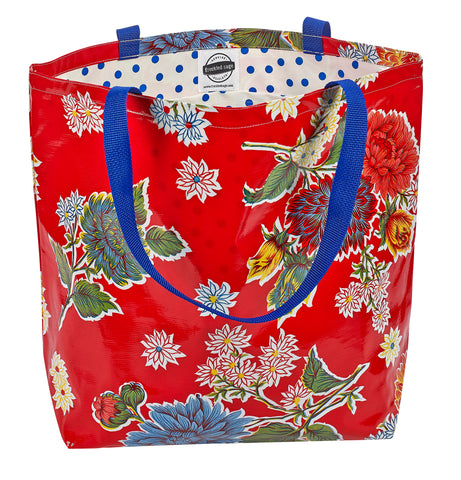 Freckled Sage Oilcloth Market Bag Mum Red