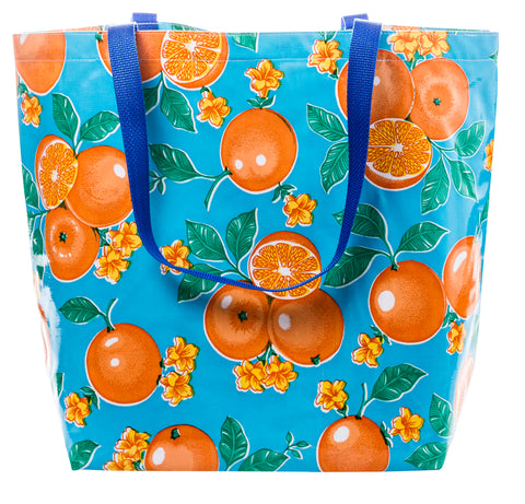 Freckled Sage Oilcloth Market Bag Oranges on Light Blue