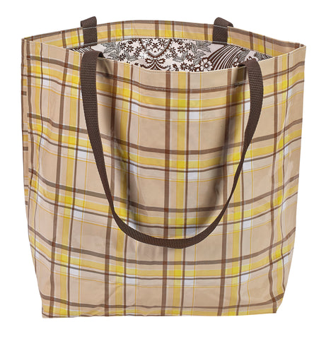 Freckled Sage Oilcloth Market Bags in Plaid Brown and Yellow