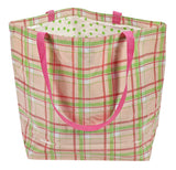 Freckled Sage Oilcloth Market Bags in Plaid Pink and Lime