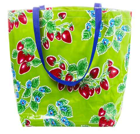 Freckled Sage Oilcloth Market Bag Strawberry Green