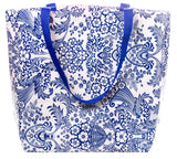 Freckled Sage Oilcloth Market Bag Blue Toile