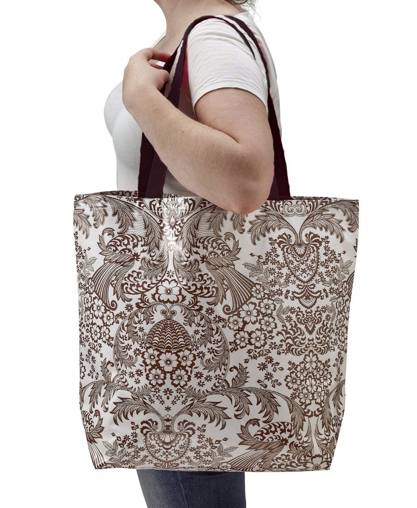 Freckled Sage Oilcloth Market Bags in Toile Brown