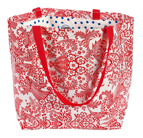 Freckled Sage Oilcloth Market Bag Red Toile