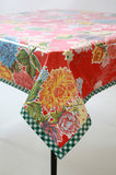 Mum Red Oilcloth Tablecloth
