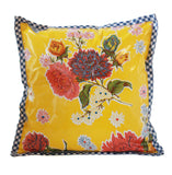 Freckled Sage Oilcloth Pillow Mum Yellow