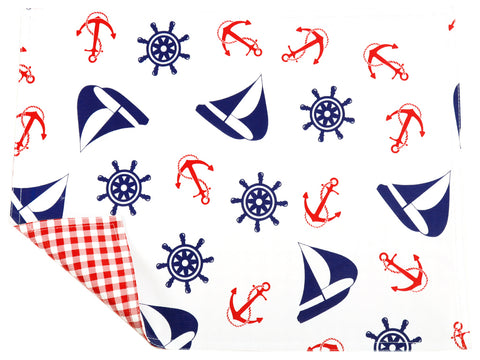 Freckled Sage Oilcloth Placemats Nautical Navy