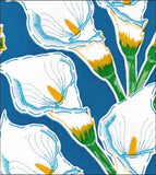 Freckled Sage oilcloth swatch Calla Lilies on blue