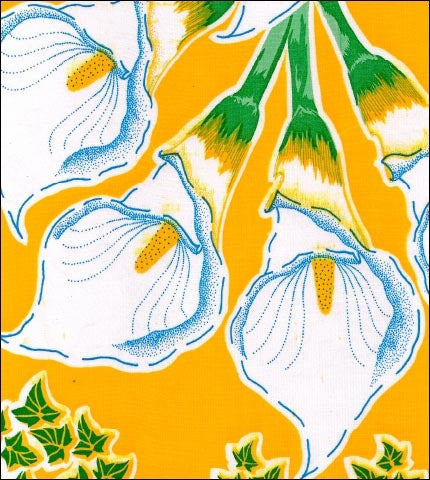 Round Oilcloth Tablecloth in Calla Lily Yellow