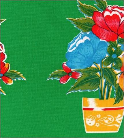 SALE on 55x55 or 55x70 Flower Pot Green Oilcloth Tablecloth