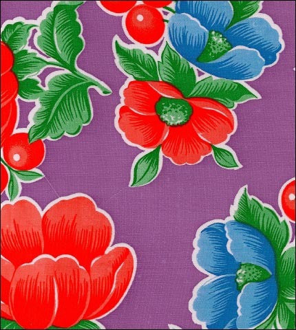 Round Oilcloth Tablecloths in Poppy Purple
