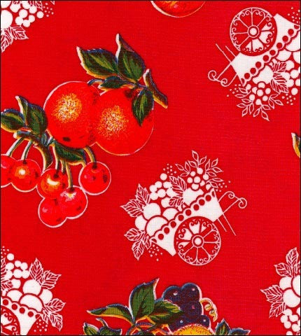 Round Oilcloth Tablecloth in Fruit Cart Red