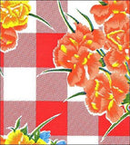 Freckled Sage Oilcloth Swatch Gingham and Flowers Red