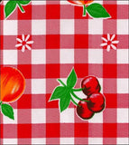 Freckled Sage Oilcloth Swatch Gingham & Fruit Red