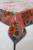 optical red oilcloth tablecloth