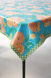 Oranges Light blue oilcloth tablecloth
