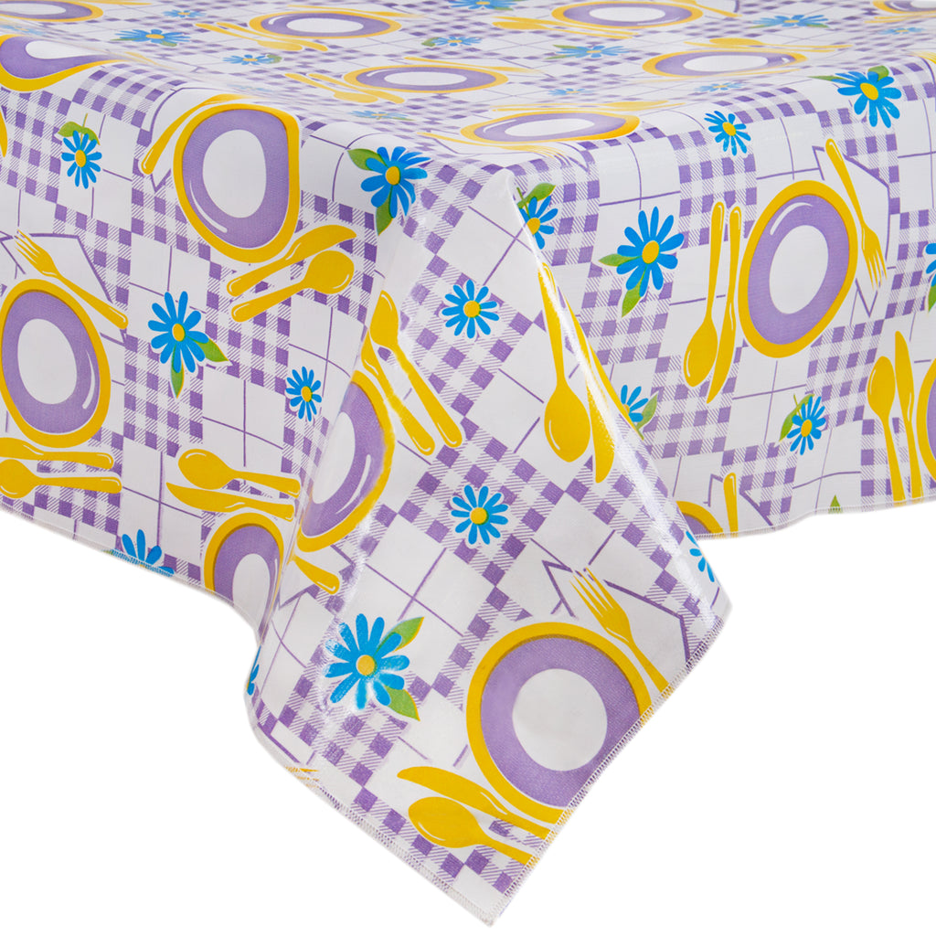 Freckled Sage Oilcloth Tablecloth Picnic Purple and Yellow