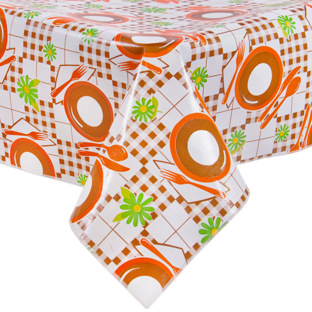 Freckled Sage Oilcloth Tablecloth Picnic Brown and Orange