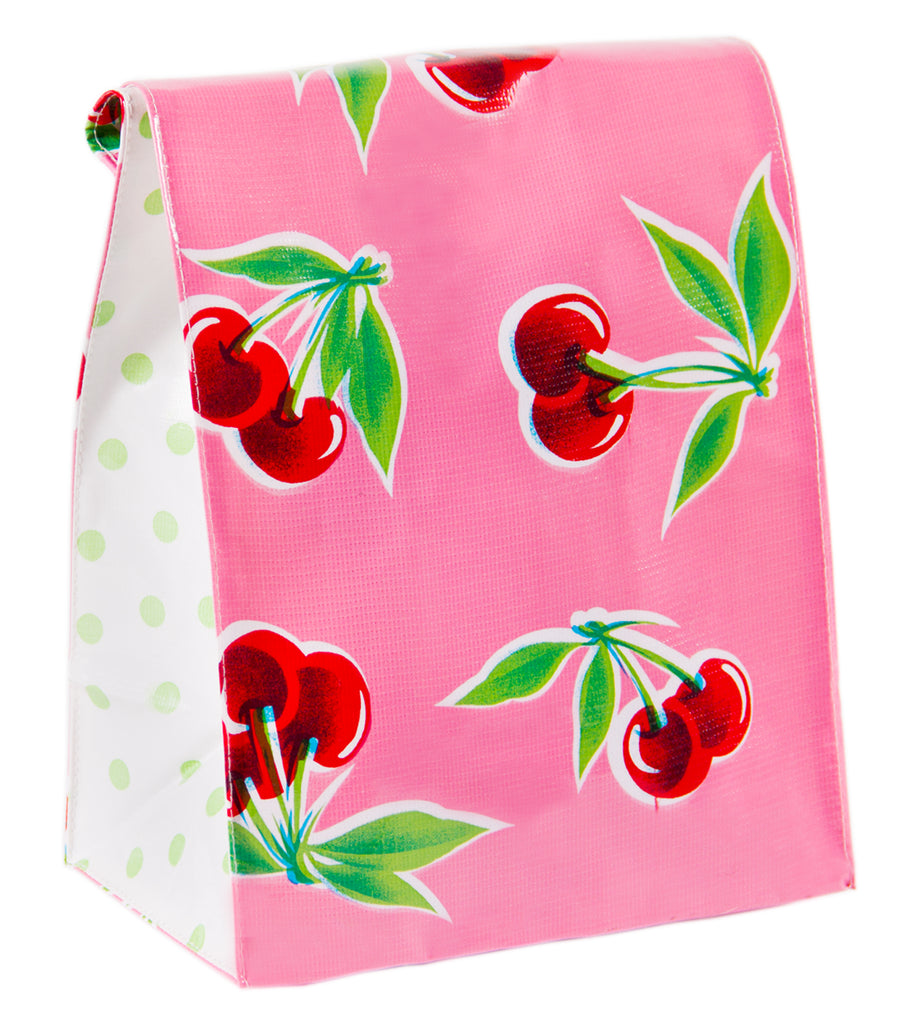 Freckled Sage Oilcloth Lunch Bag Cherry Pink