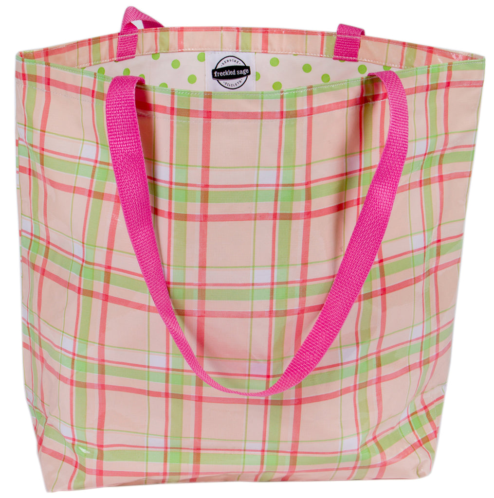 Freckled Sage Oilcloth Market Bag Plaid Pink
