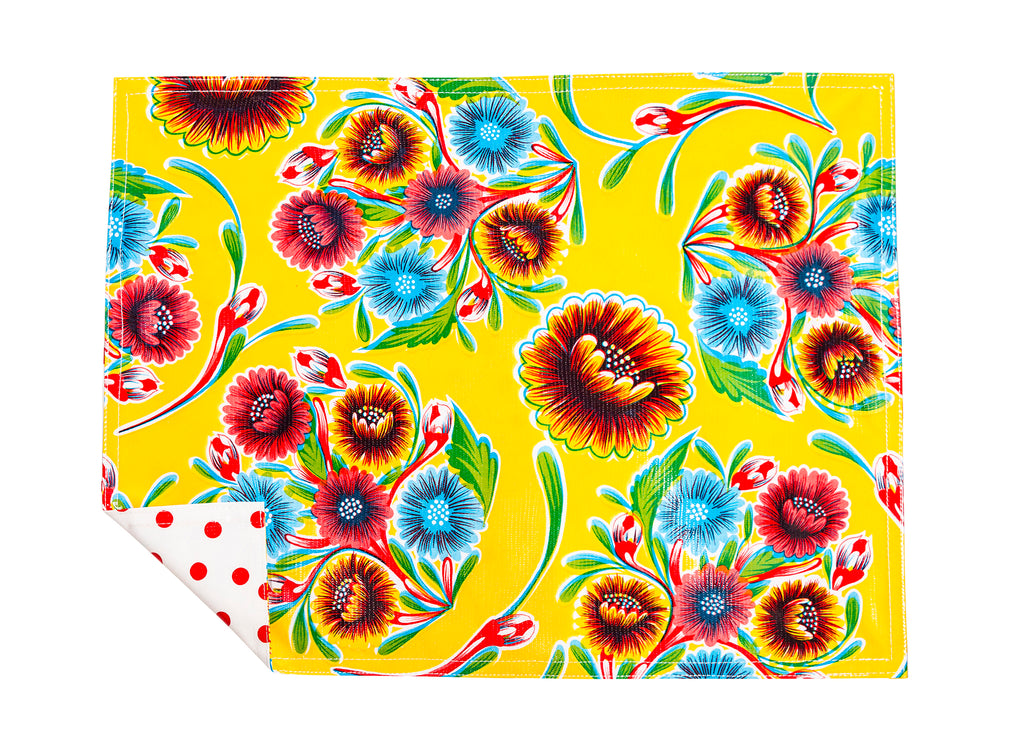 Freckled Sage Genuine Oilcloth Placemats in Bloom Yellow