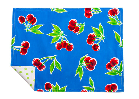 Freckled Sage Genuine Oilcloth Placemats in Cherry Blue