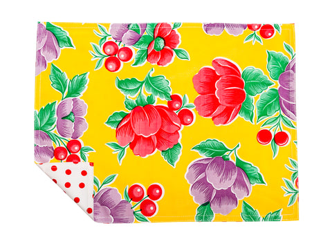 Freckled Sage Genuine Oilcloth Placemats in Poppy Yellow