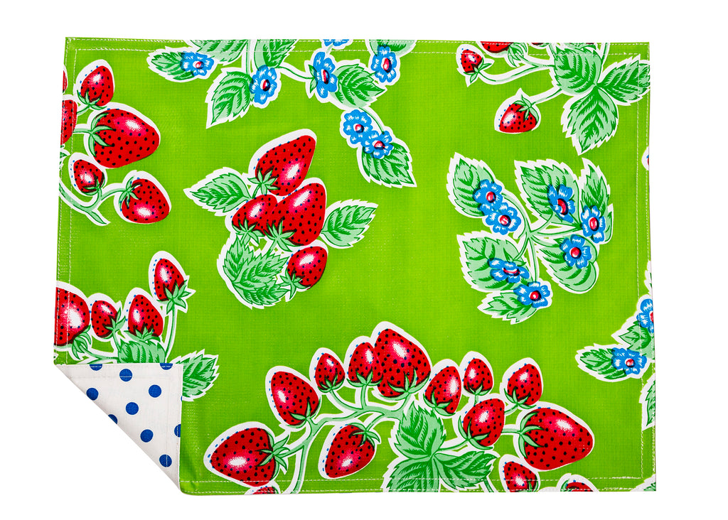 Freckled Sage Genuine Oilcloth Placemats in Strawberry Green