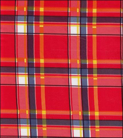 Plaid Red Oilcloth Tablecloth with Navy Gingham Trim