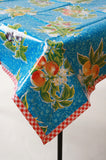 plum blue oilcloth tablecloth