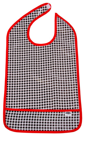 Freckled Sage Oilcloth Adult Bib Black Gingham
