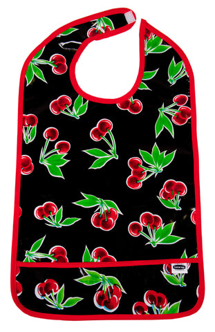 Freckled Sage Oilcloth Adult Bib Black Cherry