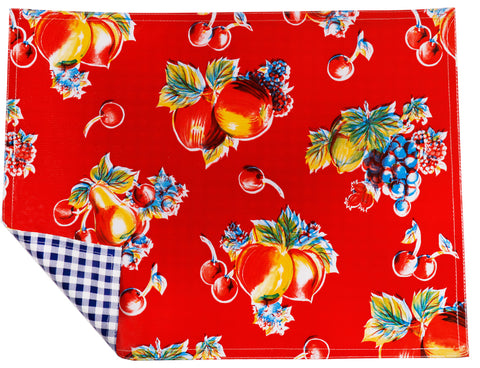 Freckled Sage Oilcloth Placemats Retro Red