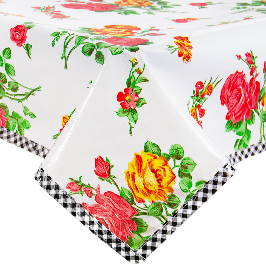 Freckled Sage Oilcloth Tablecloth Rose and Grid White with Black GT