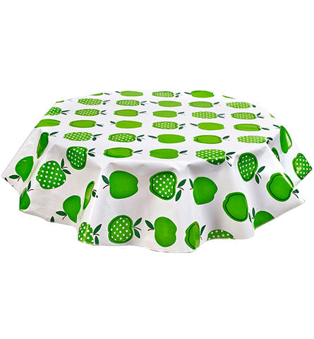 Freckled Sage Round Oilcloth Tablecloth Green Apples and Dots