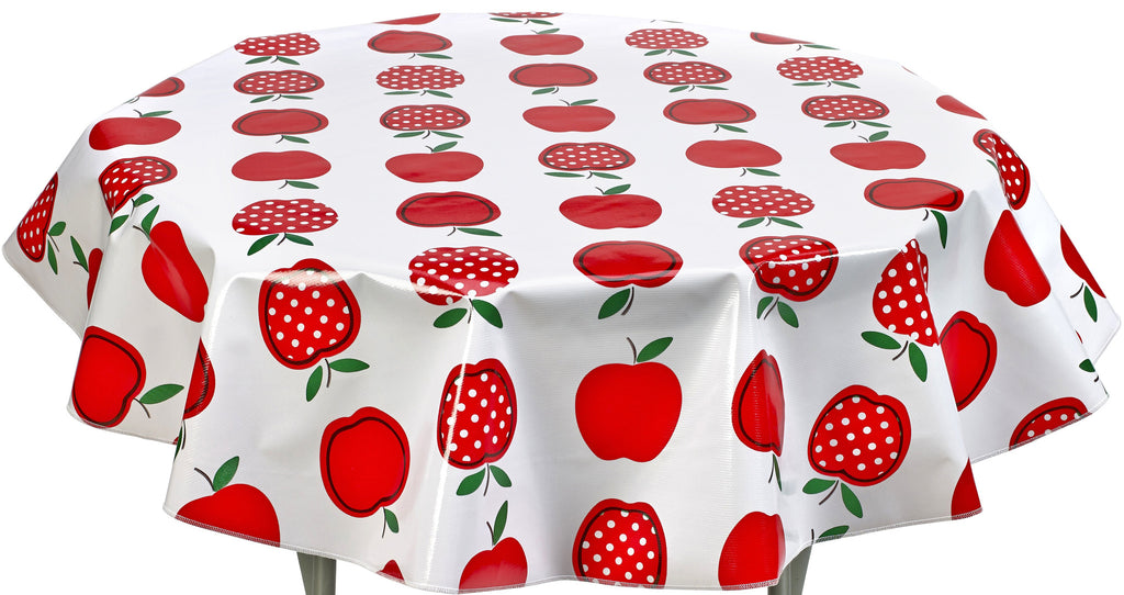 Round Oilcloth Tablecloth in Apples and Dots Red