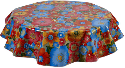 Round Oilcloth Tablecloth in Betty's Bunch Gold