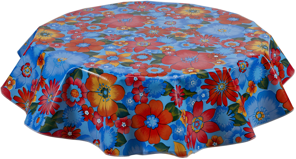 Round Oilcloth Tablecloth in Betty's Bunch Light Blue