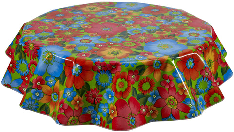 Round Oilcloth Tablecloth in Betty's Bunch Lime