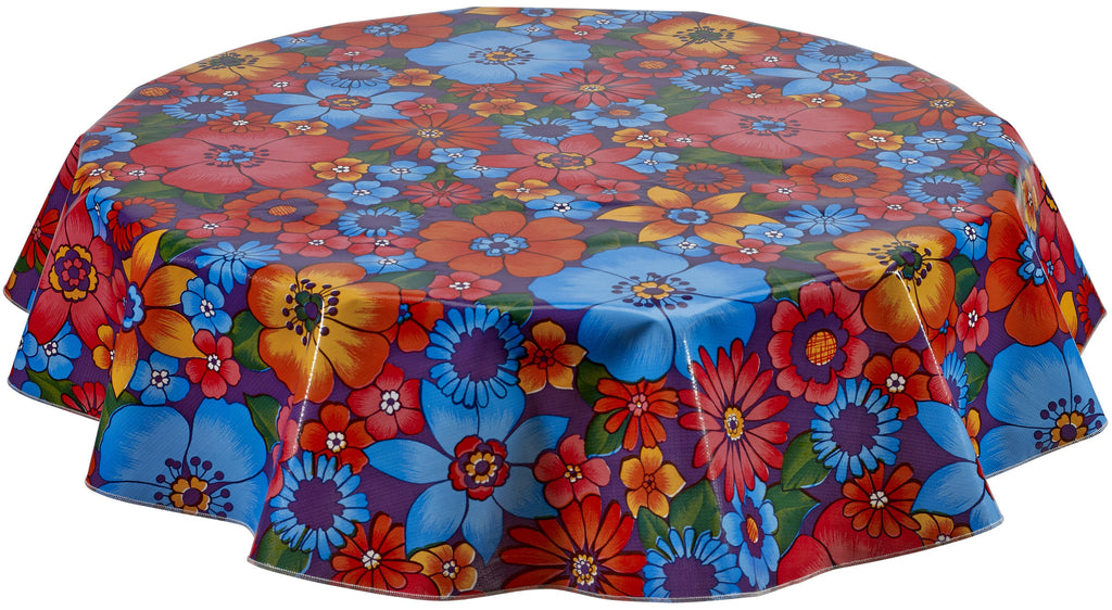 Round Oilcloth Tablecloth in Betty's Bunch Purple