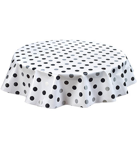 Round Oilcloth Tablecloth in Big Dot Silver and Black