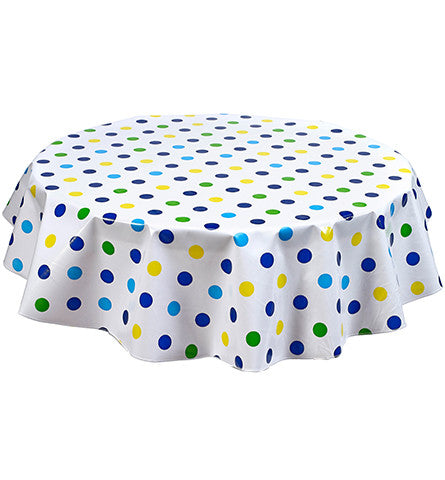 Round Big Dot Navy Oilcloth Tablecloth