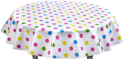 Round Oilcloth Tablecloth In Big Dot Pink