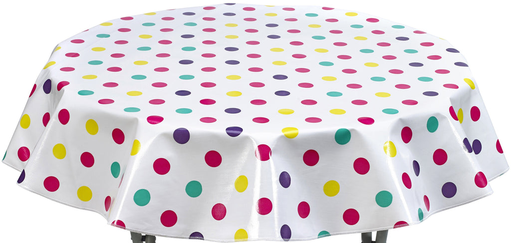 Round Oilcloth Tablecloth in Big Dot Purple