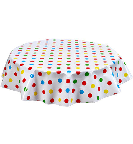 Round Oilcloth Tablecloth in Big Dot Red