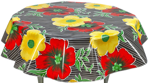 Round Oilcloth Tablecloth in Big Flowers and Stripes Black