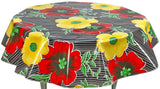 Freckled Sage Round Tablecloth Big Flowers on Black