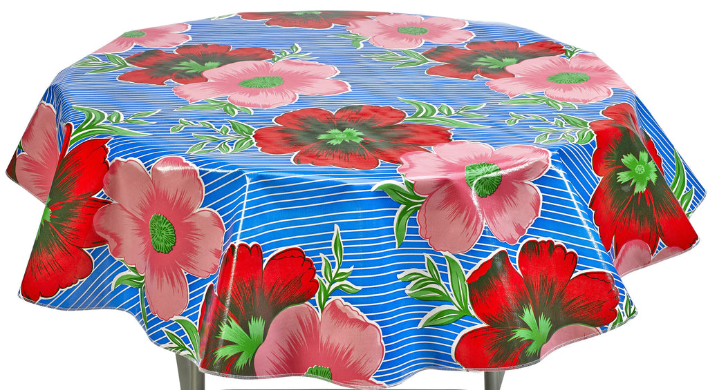 Round Oilcloth Tablecloth in Big Flowers and Stripes Blue